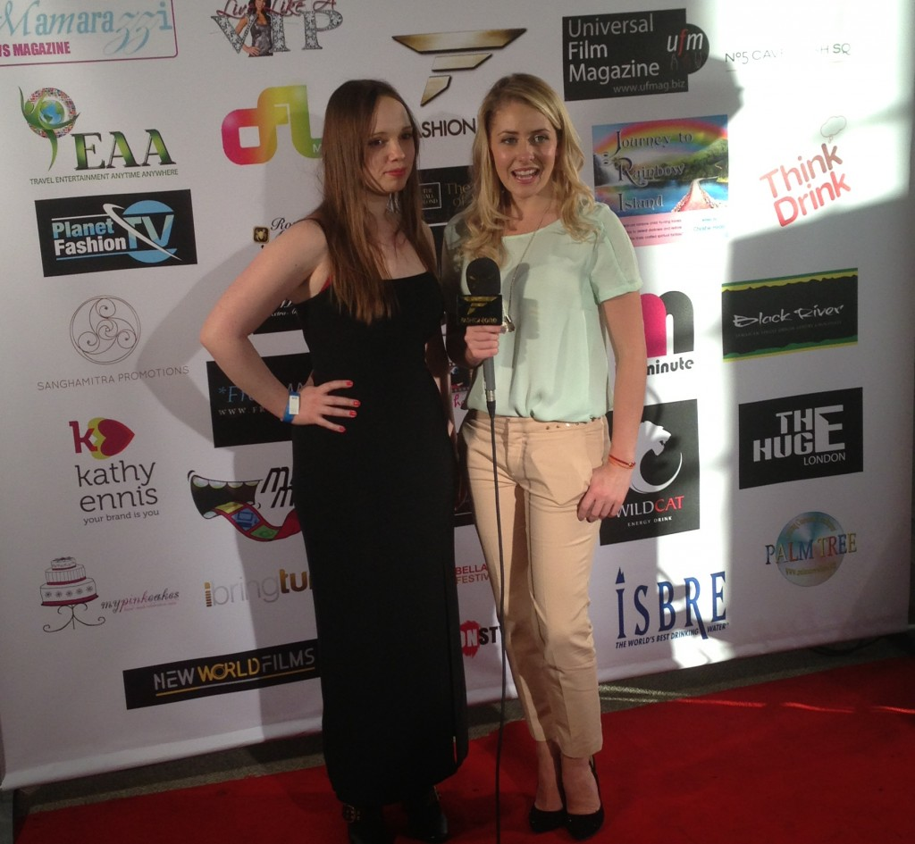 Catherine Balavage being interviewed by Fashion TV.