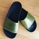 slydes, footwear, sandals, gold,